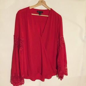 INC Red Sheer Blouse Lace Arm XL